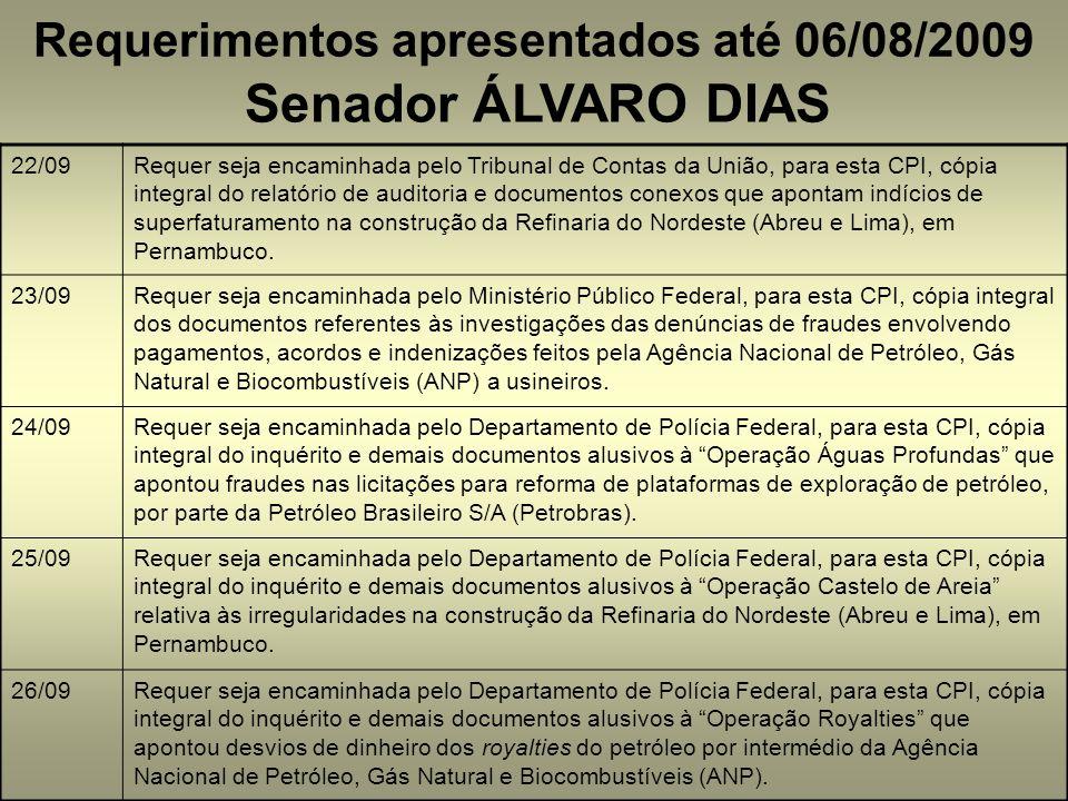 Requerimentos apresentados até 06/08/2009 Senador ÁLVARO DIAS 22/09Requer seja encaminhada pelo Tribunal de Contas da União, para esta CPI, cópia integral do relatório de auditoria e documentos conexos que apontam indícios de superfaturamento na construção da Refinaria do Nordeste (Abreu e Lima), em Pernambuco.