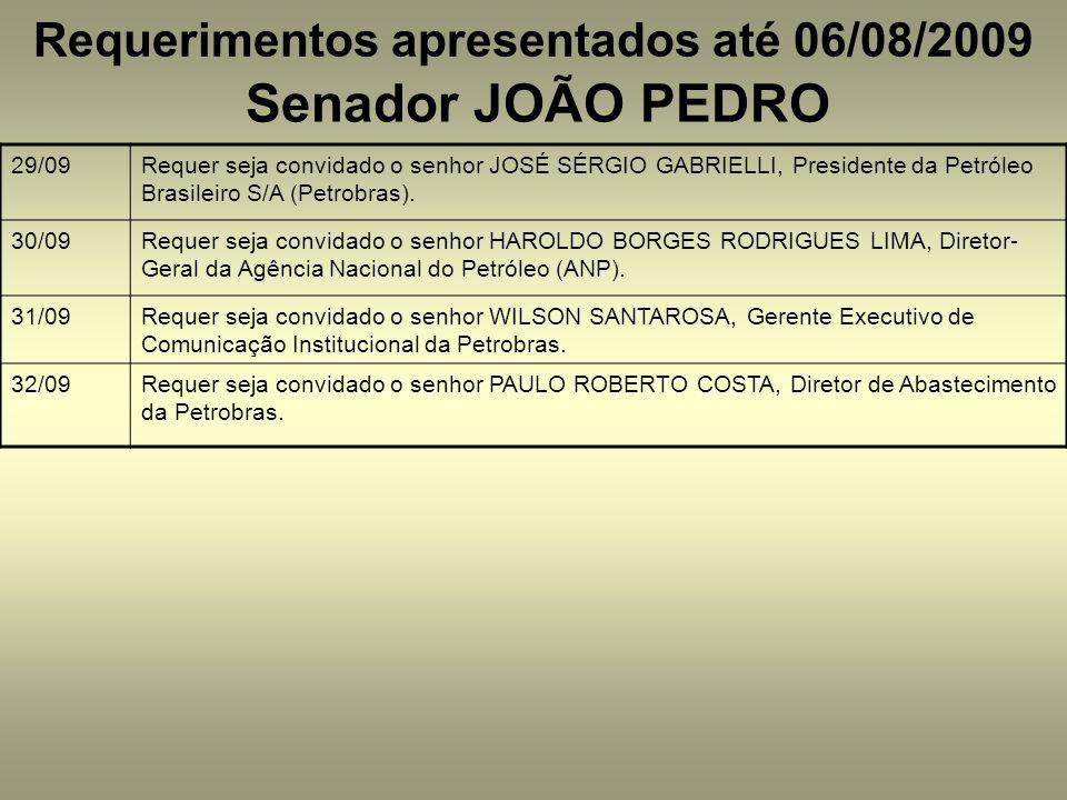 Requerimentos apresentados até 06/08/2009 Senador JOÃO PEDRO 29/09Requer seja convidado o senhor JOSÉ SÉRGIO GABRIELLI, Presidente da Petróleo Brasileiro S/A (Petrobras).