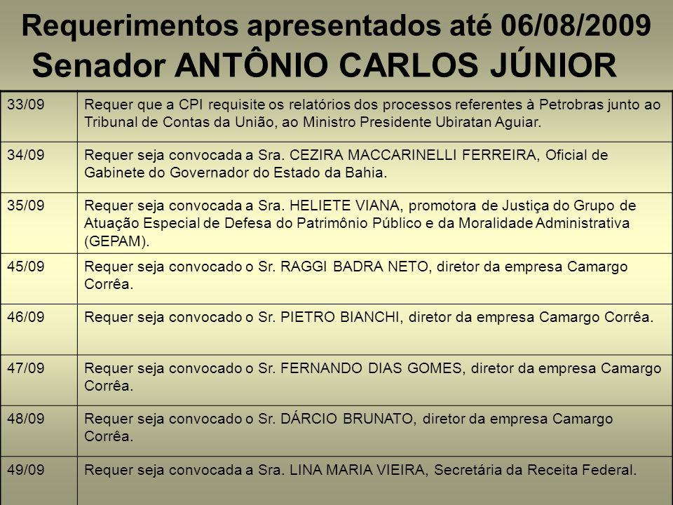 Requerimentos apresentados até 06/08/2009 Senador ANTÔNIO CARLOS JÚNIOR 33/09Requer que a CPI requisite os relatórios dos processos referentes à Petrobras junto ao Tribunal de Contas da União, ao Ministro Presidente Ubiratan Aguiar.
