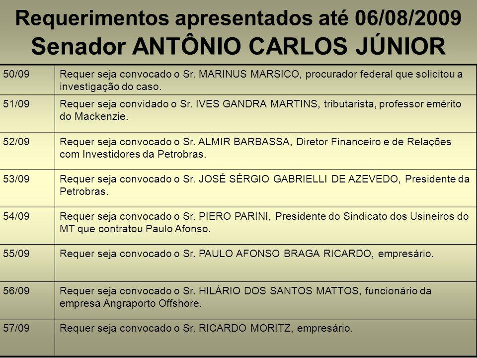 Requerimentos apresentados até 06/08/2009 Senador ANTÔNIO CARLOS JÚNIOR 50/09Requer seja convocado o Sr. MARINUS MARSICO, procurador federal que solic