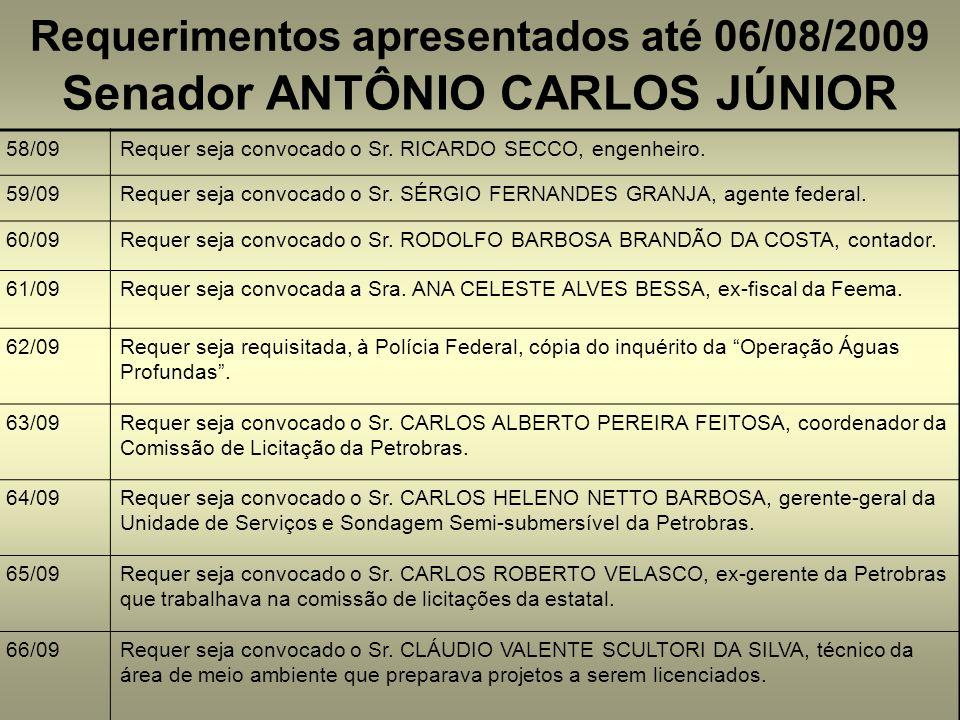 Requerimentos apresentados até 06/08/2009 58/09Requer seja convocado o Sr. RICARDO SECCO, engenheiro. 59/09Requer seja convocado o Sr. SÉRGIO FERNANDE