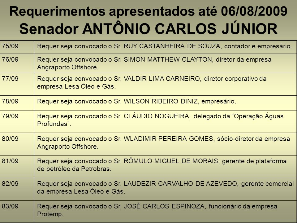 Requerimentos apresentados até 06/08/2009 75/09Requer seja convocado o Sr. RUY CASTANHEIRA DE SOUZA, contador e empresário. 76/09Requer seja convocado