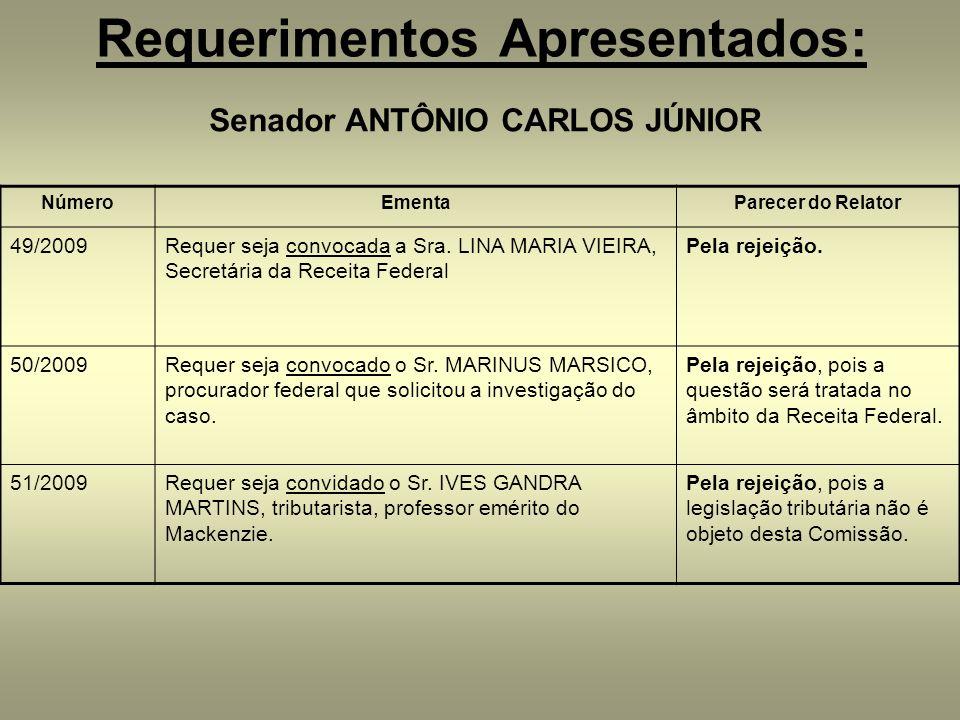 Requerimentos Apresentados: Senador ANTÔNIO CARLOS JÚNIOR NúmeroEmentaParecer do Relator 49/2009Requer seja convocada a Sra. LINA MARIA VIEIRA, Secret