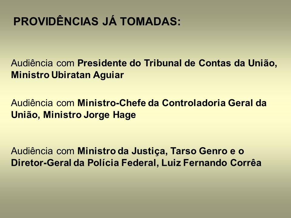 PROVIDÊNCIAS JÁ TOMADAS: Audiência com Presidente do Tribunal de Contas da União, Ministro Ubiratan Aguiar Audiência com Ministro-Chefe da Controlador