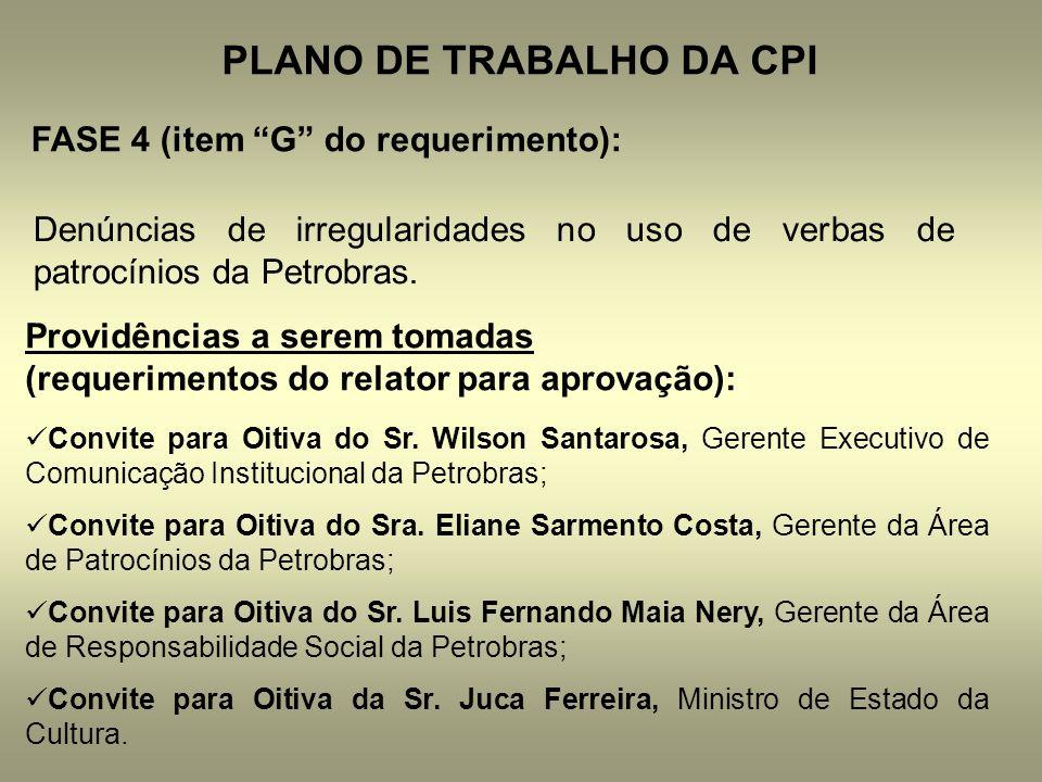 PLANO DE TRABALHO DA CPI FASE 4 (item G do requerimento): Denúncias de irregularidades no uso de verbas de patrocínios da Petrobras. Providências a se