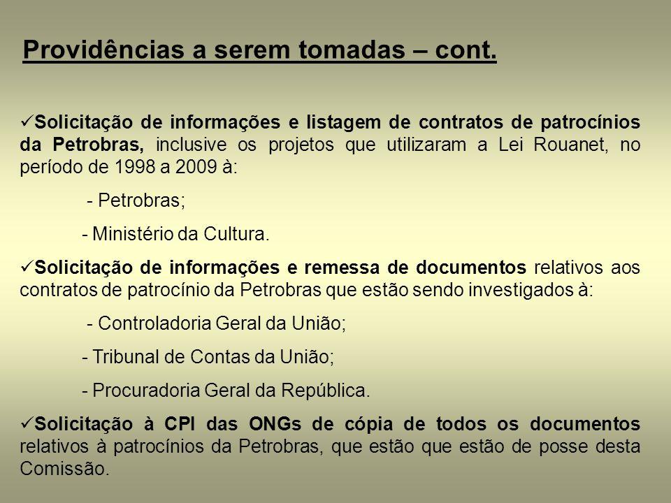 Providências a serem tomadas – cont. Solicitação de informações e listagem de contratos de patrocínios da Petrobras, inclusive os projetos que utiliza