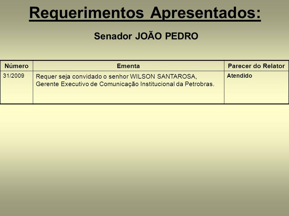 Requerimentos Apresentados: Senador JOÃO PEDRO NúmeroEmentaParecer do Relator 31/2009 Requer seja convidado o senhor WILSON SANTAROSA, Gerente Executivo de Comunicação Institucional da Petrobras.
