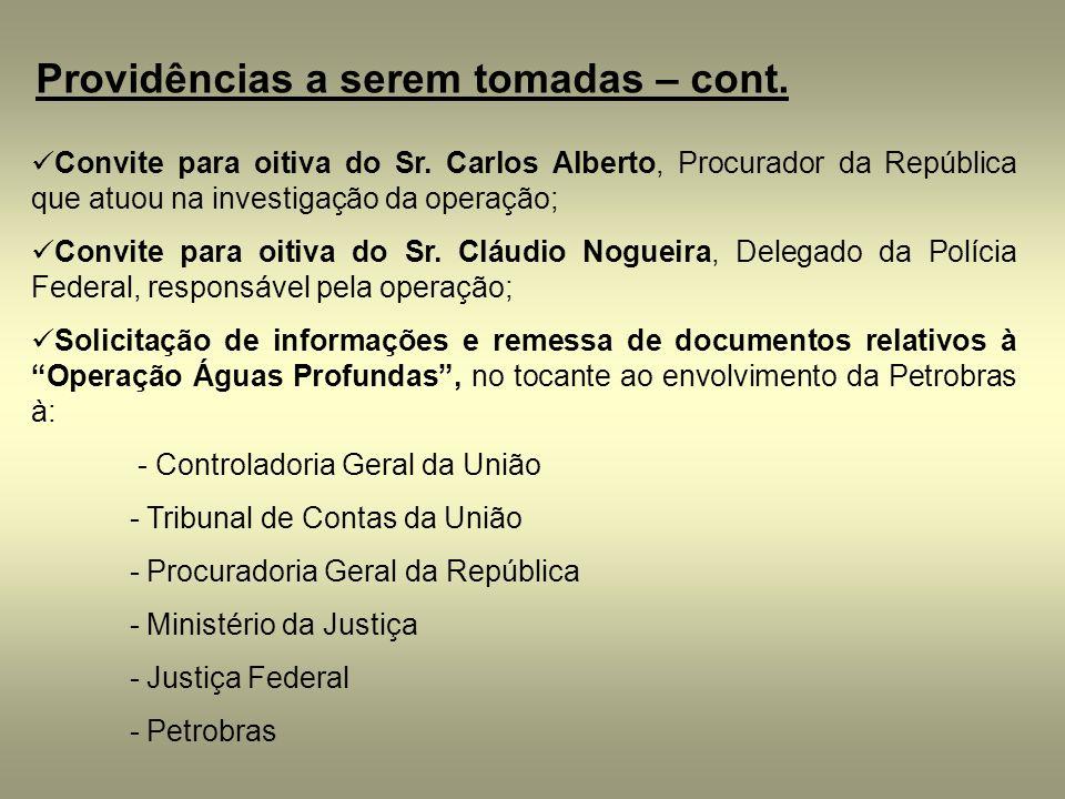 Providências a serem tomadas – cont. Convite para oitiva do Sr. Carlos Alberto, Procurador da República que atuou na investigação da operação; Convite