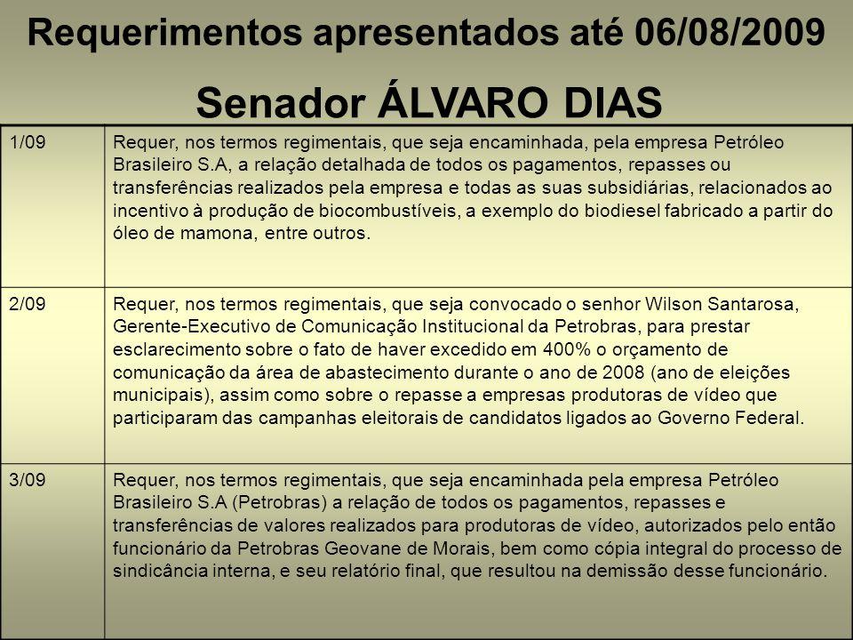 Requerimentos apresentados até 06/08/2009 Senador ÁLVARO DIAS 1/09Requer, nos termos regimentais, que seja encaminhada, pela empresa Petróleo Brasilei