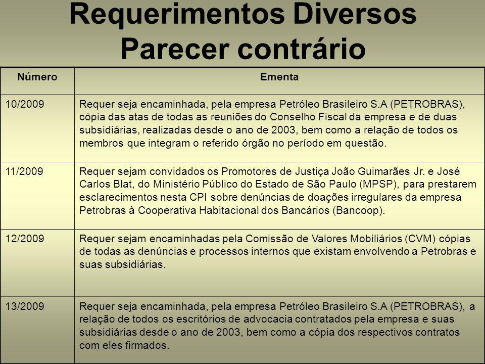 NúmeroEmenta 10/2009Requer seja encaminhada, pela empresa Petróleo Brasileiro S.A (PETROBRAS), cópia das atas de todas as reuniões do Conselho Fiscal da empresa e de duas subsidiárias, realizadas desde o ano de 2003, bem como a relação de todos os membros que integram o referido órgão no período em questão.