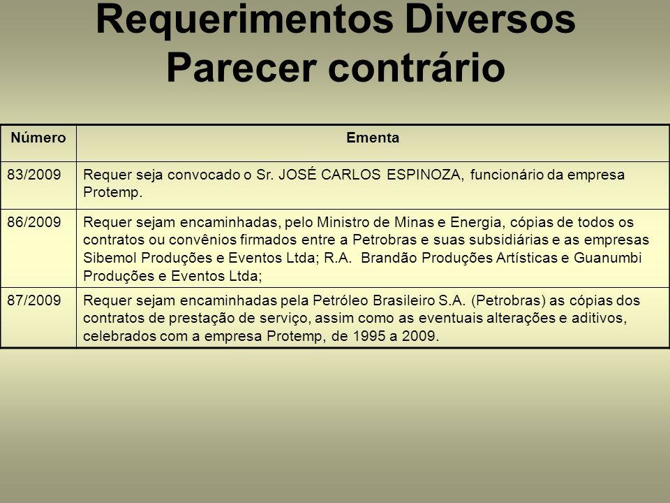 NúmeroEmenta 83/2009Requer seja convocado o Sr. JOSÉ CARLOS ESPINOZA, funcionário da empresa Protemp. 86/2009Requer sejam encaminhadas, pelo Ministro