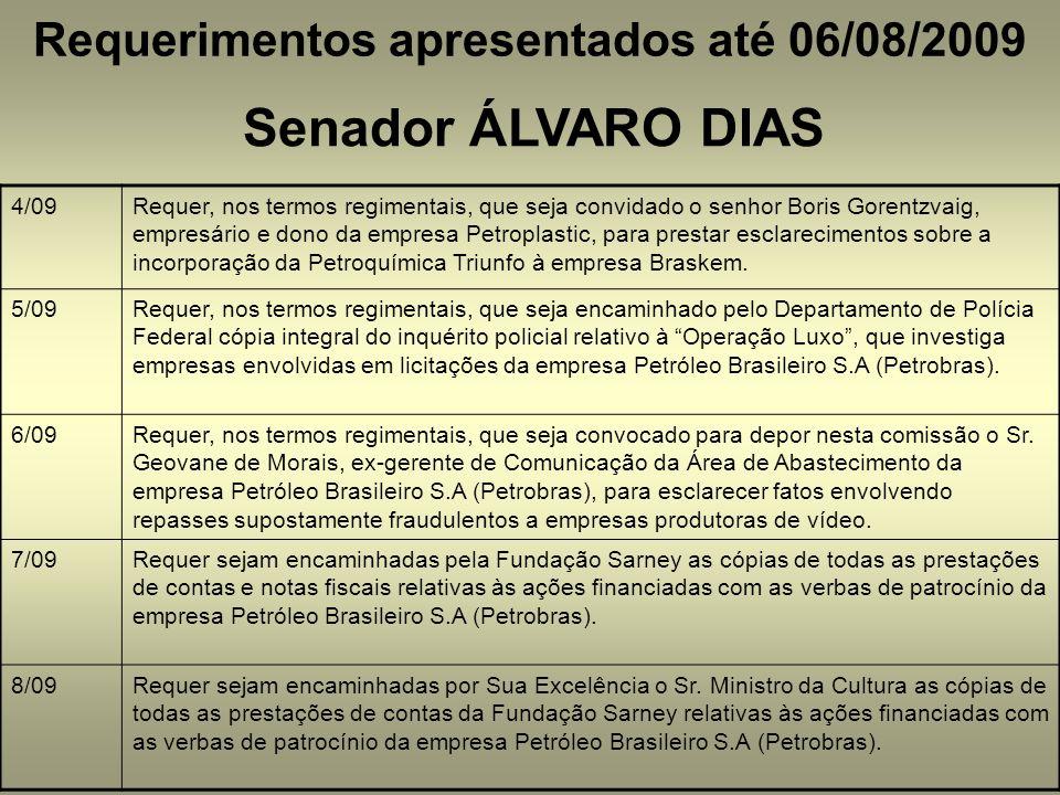 Requerimentos apresentados até 06/08/2009 Senador ÁLVARO DIAS 4/09Requer, nos termos regimentais, que seja convidado o senhor Boris Gorentzvaig, empresário e dono da empresa Petroplastic, para prestar esclarecimentos sobre a incorporação da Petroquímica Triunfo à empresa Braskem.