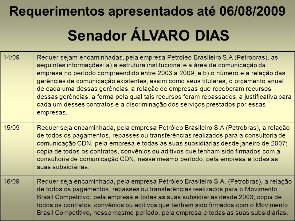 Requerimentos apresentados até 06/08/2009 Senador ÁLVARO DIAS 14/09Requer sejam encaminhadas, pela empresa Petróleo Brasileiro S.A (Petrobras), as seg