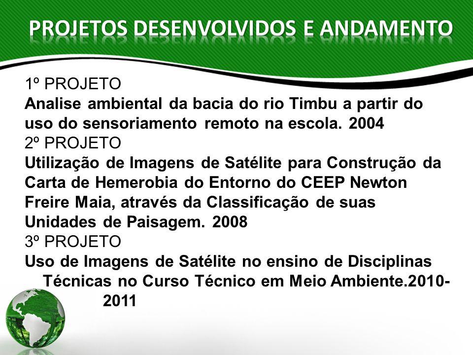 1º PROJETO Analise ambiental da bacia do rio Timbu a partir do uso do sensoriamento remoto na escola. 2004 2º PROJETO Utilização de Imagens de Satélit