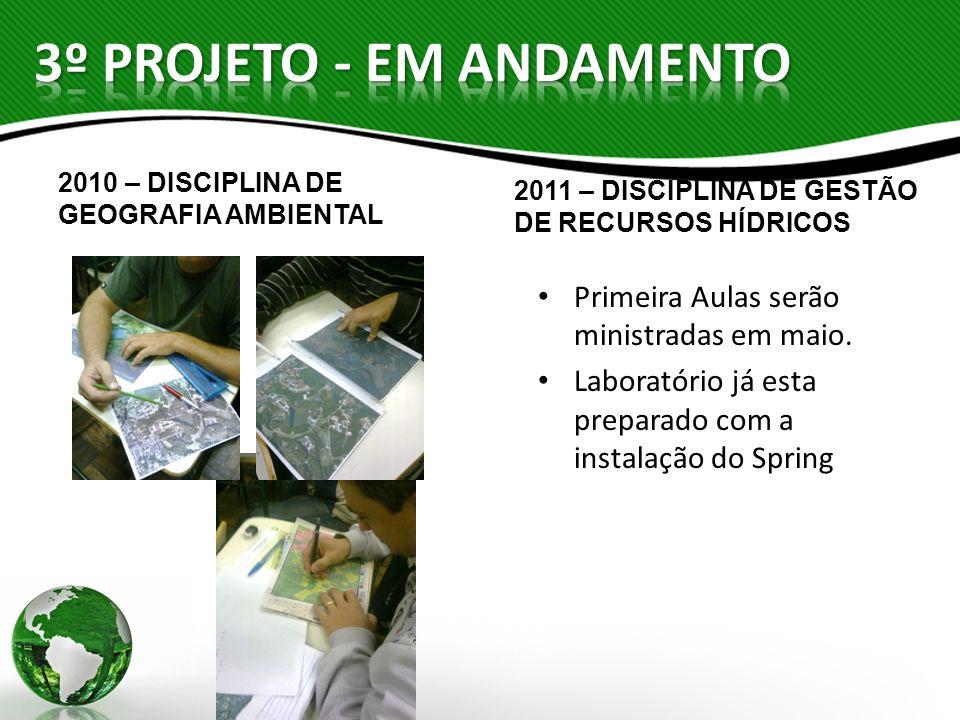 2010 – DISCIPLINA DE GEOGRAFIA AMBIENTAL 2011 – DISCIPLINA DE GESTÃO DE RECURSOS HÍDRICOS Primeira Aulas serão ministradas em maio. Laboratório já est