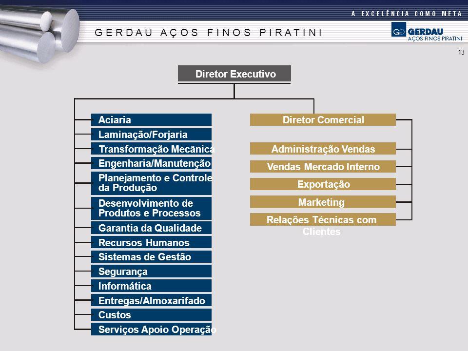 Diretor Executivo Aciaria Laminação/Forjaria Transformação Mecânica Engenharia/Manutenção Planejamento e Controle da Produção Desenvolvimento de Produ