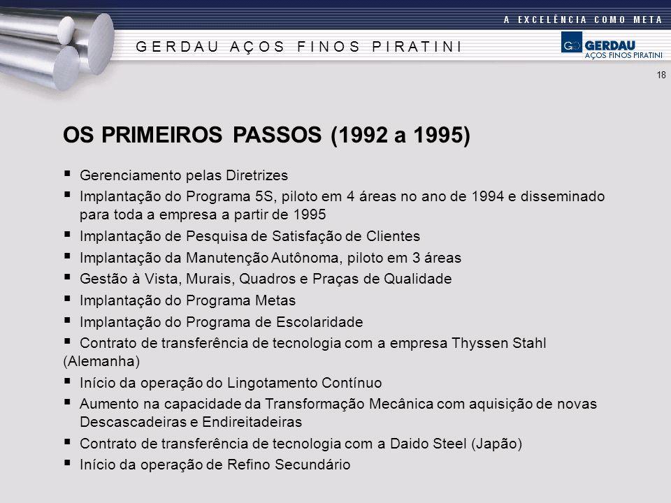Gerenciamento pelas Diretrizes Implantação do Programa 5S, piloto em 4 áreas no ano de 1994 e disseminado para toda a empresa a partir de 1995 Implant