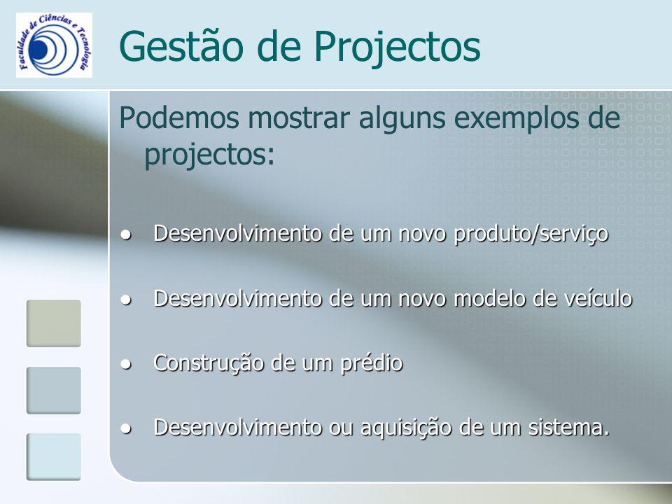Gestão de Projectos Podemos mostrar alguns exemplos de projectos: Desenvolvimento de um novo produto/serviço Desenvolvimento de um novo produto/serviço Desenvolvimento de um novo modelo de veículo Desenvolvimento de um novo modelo de veículo Construção de um prédio Construção de um prédio Desenvolvimento ou aquisição de um sistema.