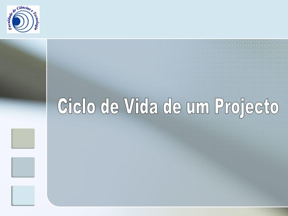 Ciclo de Vida de um Projecto ciclo de vida do projecto Os gestores do projecto normalmente dividem o projecto em várias fases, pois vai facilitar a sua gestão e é a esse conjunto de fases que se designa como ciclo de vida do projecto.