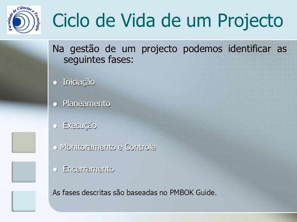 Ciclo de Vida de um Projecto Na gestão de um projecto podemos identificar as seguintes fases: Iniciação Iniciação Planeamento Planeamento Execução Execução Monitoramento e Controle Monitoramento e Controle Encerramento Encerramento As fases descritas são baseadas no PMBOK Guide.