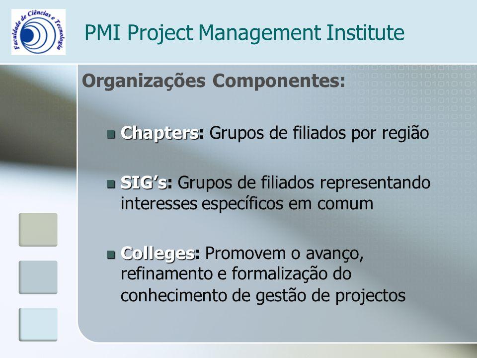 PMI Project Management Institute Organizações Componentes: Chapters Chapters: Grupos de filiados por região SIGs SIGs: Grupos de filiados representando interesses específicos em comum Colleges Colleges: Promovem o avanço, refinamento e formalização do conhecimento de gestão de projectos