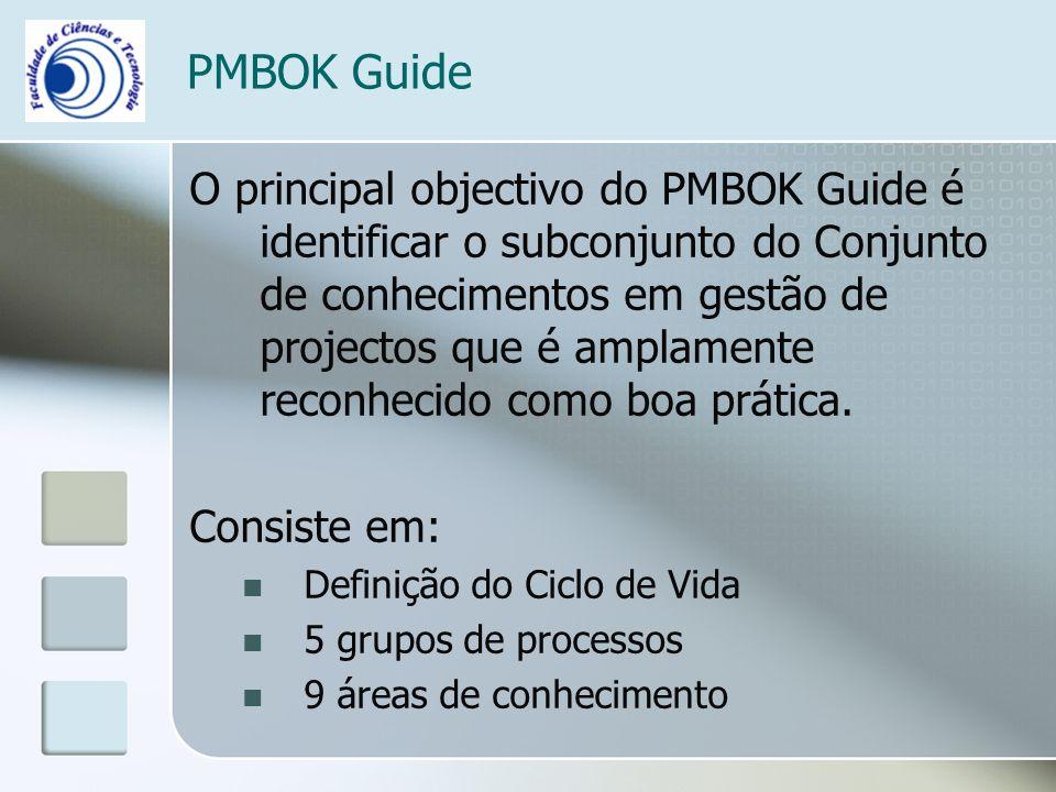 PMBOK Guide O principal objectivo do PMBOK Guide é identificar o subconjunto do Conjunto de conhecimentos em gestão de projectos que é amplamente reconhecido como boa prática.