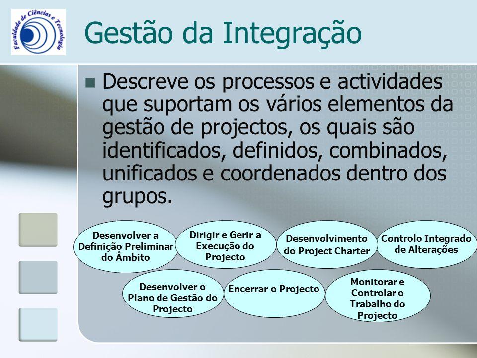 Gestão da Integração Descreve os processos e actividades que suportam os vários elementos da gestão de projectos, os quais são identificados, definidos, combinados, unificados e coordenados dentro dos grupos.