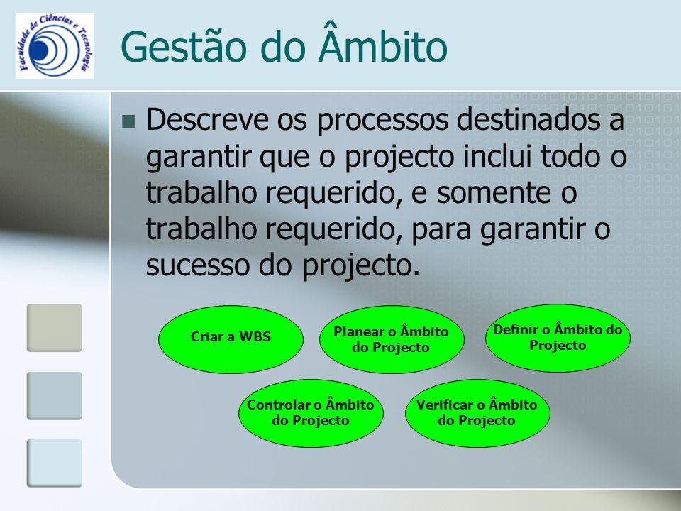 Gestão do Âmbito Descreve os processos destinados a garantir que o projecto inclui todo o trabalho requerido, e somente o trabalho requerido, para garantir o sucesso do projecto.