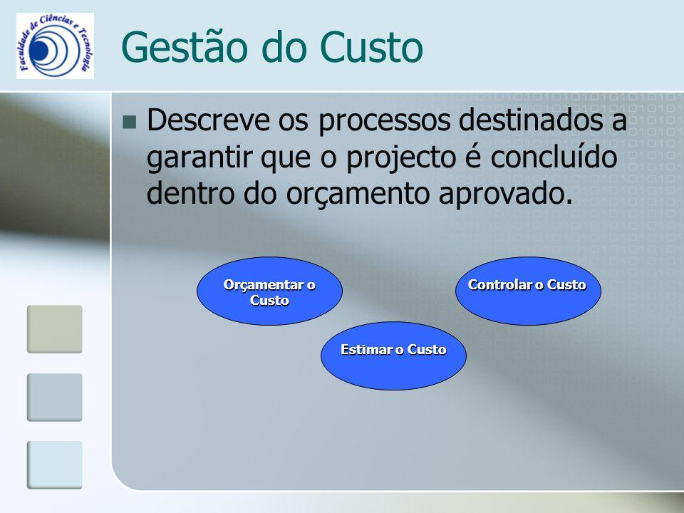 Gestão do Custo Descreve os processos destinados a garantir que o projecto é concluído dentro do orçamento aprovado.