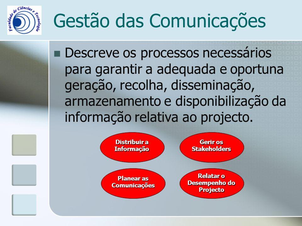 Gestão das Comunicações Descreve os processos necessários para garantir a adequada e oportuna geração, recolha, disseminação, armazenamento e disponibilização da informação relativa ao projecto.
