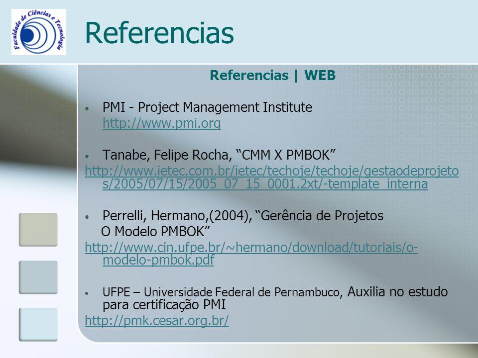 Referencias Referencias | WEB PMI - Project Management Institute http://www.pmi.org Tanabe, Felipe Rocha, CMM X PMBOK http://www.ietec.com.br/ietec/techoje/techoje/gestaodeprojeto s/2005/07/15/2005_07_15_0001.2xt/-template_interna Perrelli, Hermano,(2004), Gerência de Projetos O Modelo PMBOK http://www.cin.ufpe.br/~hermano/download/tutoriais/o- modelo-pmbok.pdf UFPE – Universidade Federal de Pernambuco, Auxilia no estudo para certificação PMI http://pmk.cesar.org.br/