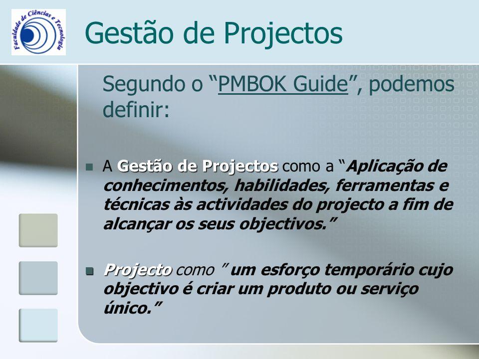 Gestão de Projectos Segundo o PMBOK Guide, podemos definir: Gestão de Projectos A Gestão de Projectos como a Aplicação de conhecimentos, habilidades, ferramentas e técnicas às actividades do projecto a fim de alcançar os seus objectivos.