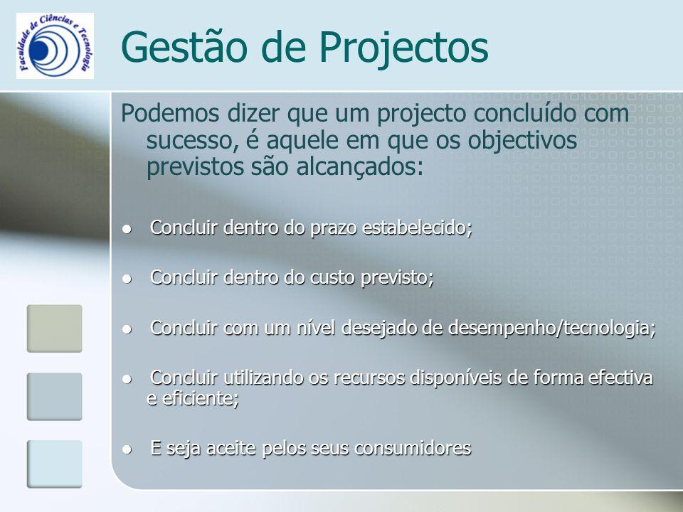 Gestão de Projectos Podemos dizer que um projecto concluído com sucesso, é aquele em que os objectivos previstos são alcançados: Concluir dentro do prazo estabelecido; Concluir dentro do prazo estabelecido; Concluir dentro do custo previsto; Concluir dentro do custo previsto; Concluir com um nível desejado de desempenho/tecnologia; Concluir com um nível desejado de desempenho/tecnologia; Concluir utilizando os recursos disponíveis de forma efectiva e eficiente; Concluir utilizando os recursos disponíveis de forma efectiva e eficiente; E seja aceite pelos seus consumidores E seja aceite pelos seus consumidores