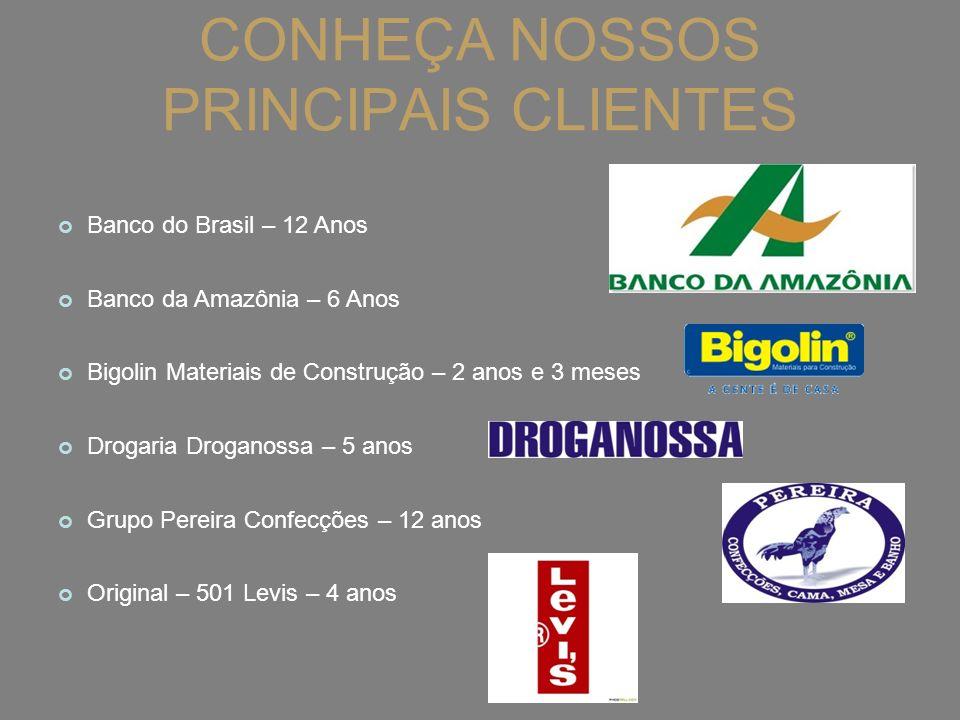 CONHEÇA NOSSOS PRINCIPAIS CLIENTES Banco do Brasil – 12 Anos Banco da Amazônia – 6 Anos Bigolin Materiais de Construção – 2 anos e 3 meses Drogaria Dr