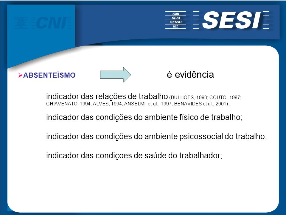 ABSENTEÍSMO é evidência indicador das relações de trabalho (BULHÕES, 1998; COUTO, 1987; CHIAVENATO, 1994; ALVES, 1994; ANSELMI et al., 1997; BENAVIDES
