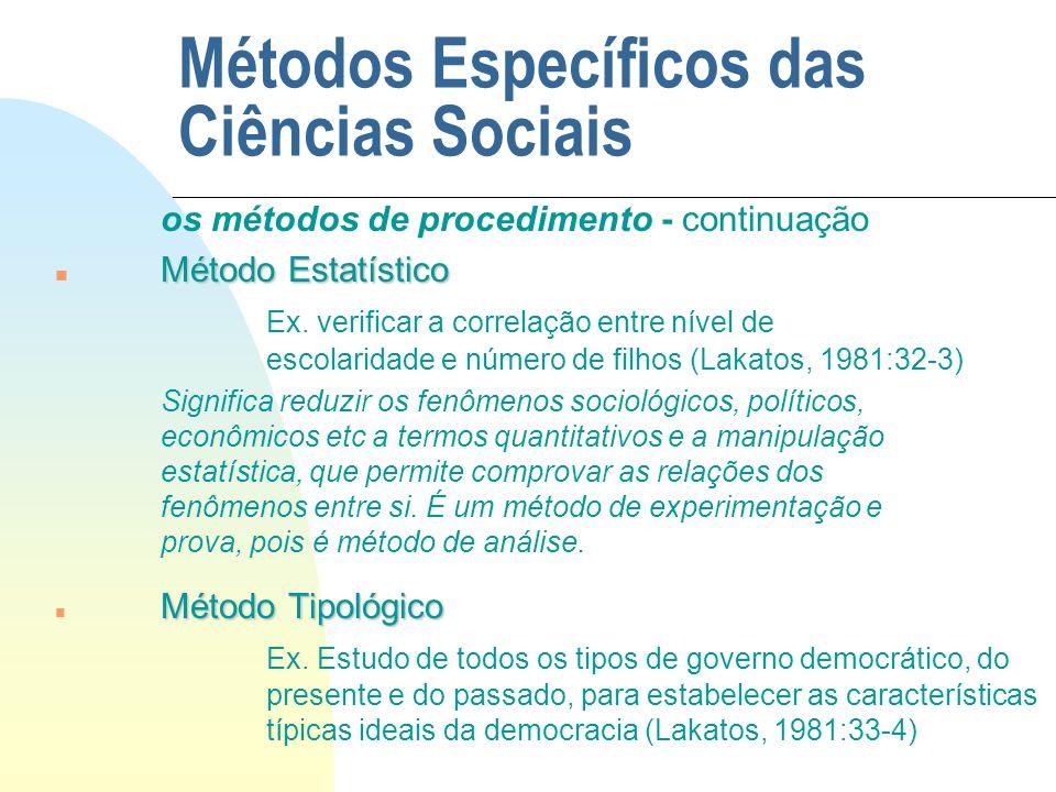 Métodos Específicos das Ciências Sociais os métodos de procedimento - continuação Método Estatístico n Método Estatístico Ex. verificar a correlação e