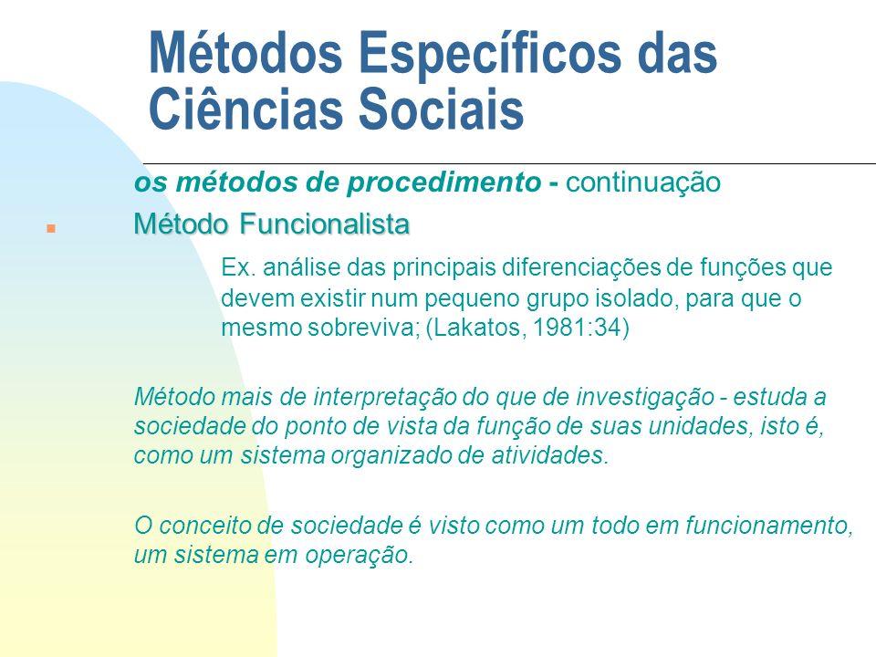 Métodos Específicos das Ciências Sociais os métodos de procedimento - continuação Método Funcionalista n Método Funcionalista Ex. análise das principa