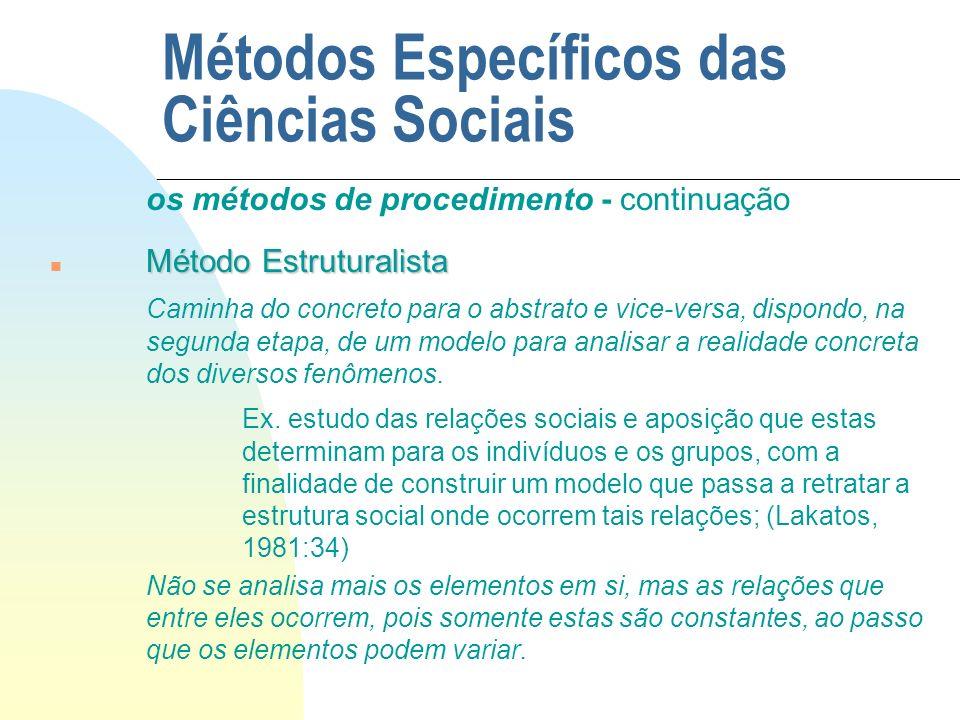 Métodos Específicos das Ciências Sociais os métodos de procedimento - continuação Método Estruturalista n Método Estruturalista Caminha do concreto pa