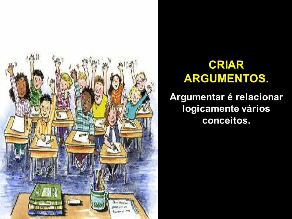 CRIAR ARGUMENTOS. Argumentar é relacionar logicamente vários conceitos.