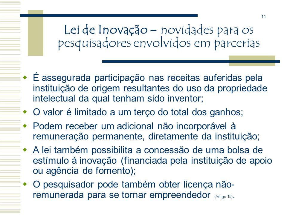 Lei de Inovação - novidades Estabelece que a transferência com exclusividade do direito sobre um produto ou processo deve ser feita por chamada públic