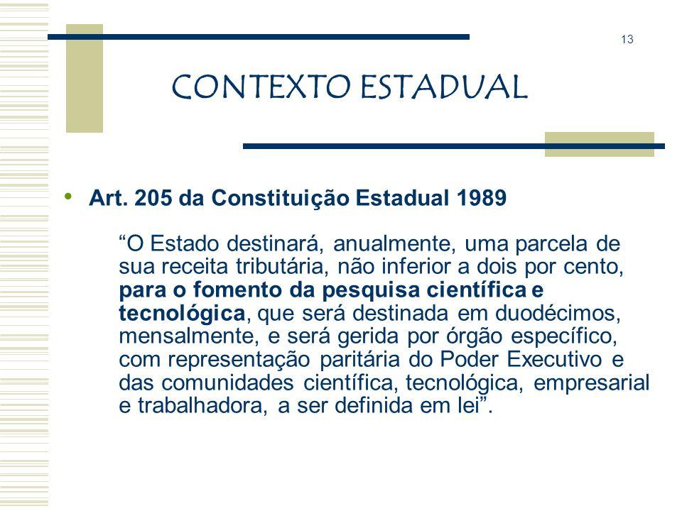 CONTEXTO ESTADUAL No Paraná as políticas e ações no âmbito da C, T e I são definidas e coordenadas pela Secretaria de Estado da Ciência, Tecnologia e