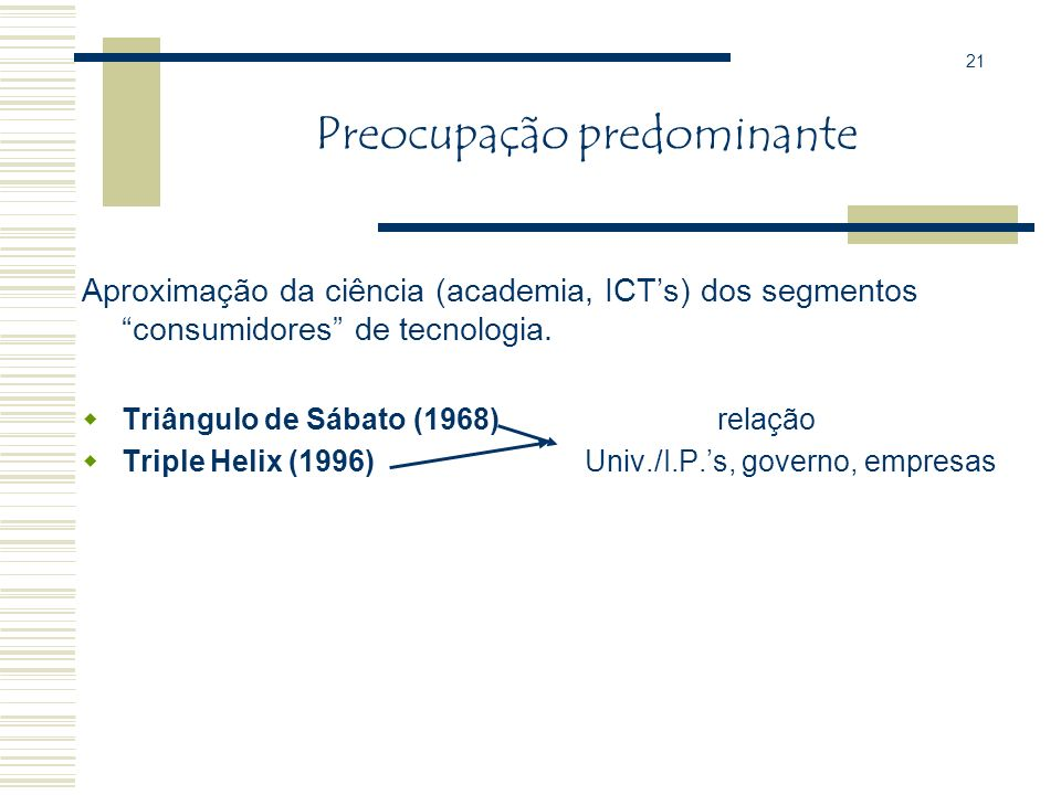 Preocupação predominante Aproximar a ciência (universidades, IPs) dos segmentos consumidores de tecnologia. 20