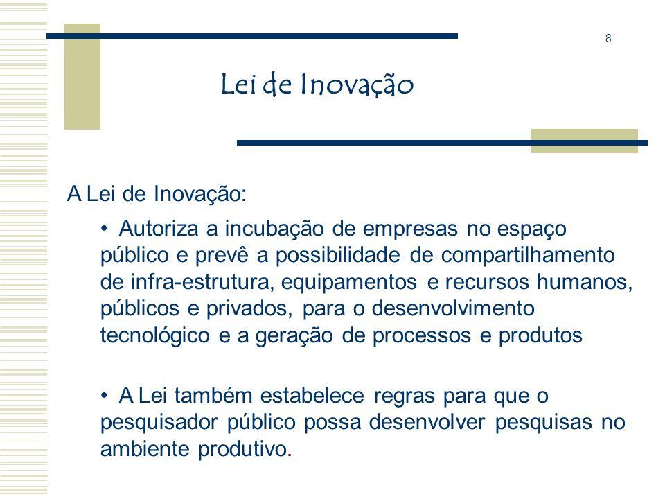 Lei de Inovação Lei n. 10.973 de 2 de dezembro de 2004 Dispõe sobre incentivos à inovação e à pesquisa científica e tecnológica no ambiente produtivo