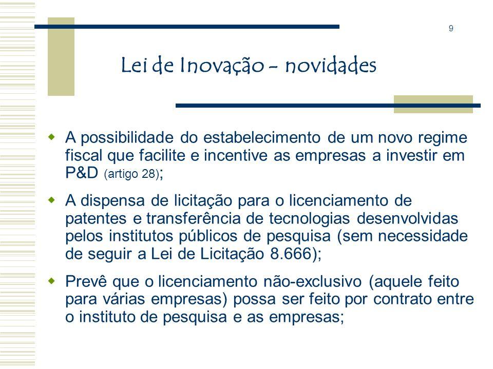 A Lei de Inovação: Autoriza a incubação de empresas no espaço público e prevê a possibilidade de compartilhamento de infra-estrutura, equipamentos e r