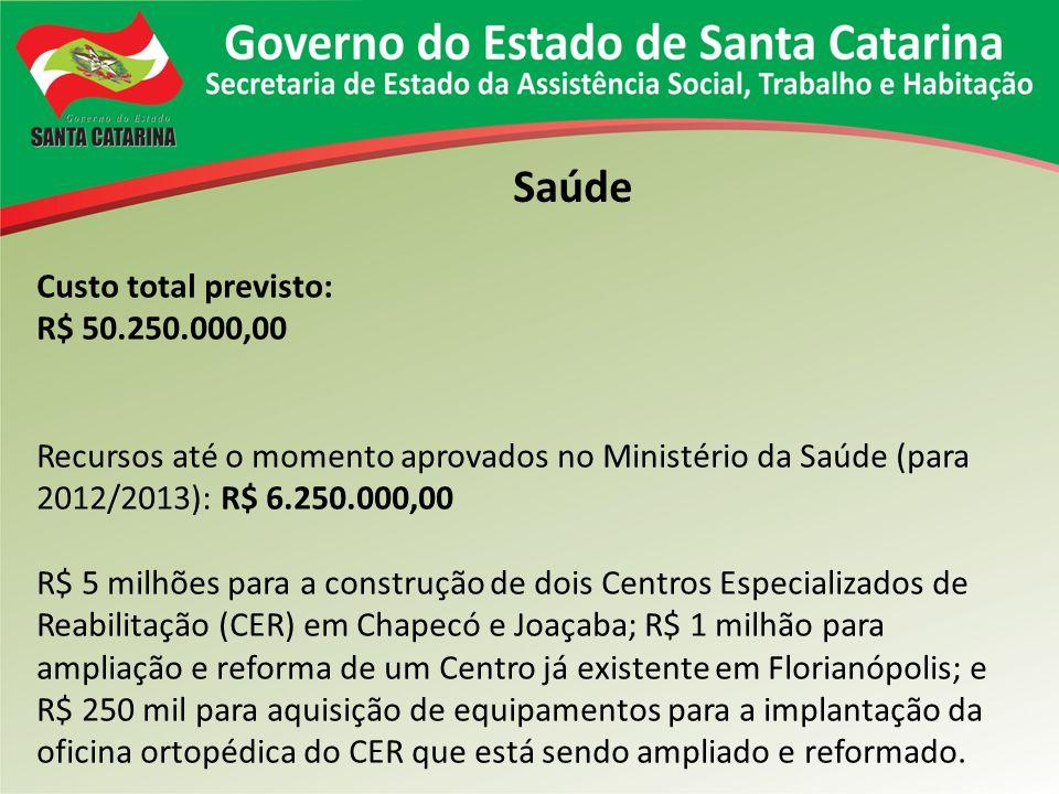 Custo total previsto: R$ 50.250.000,00 Recursos até o momento aprovados no Ministério da Saúde (para 2012/2013): R$ 6.250.000,00 R$ 5 milhões para a c