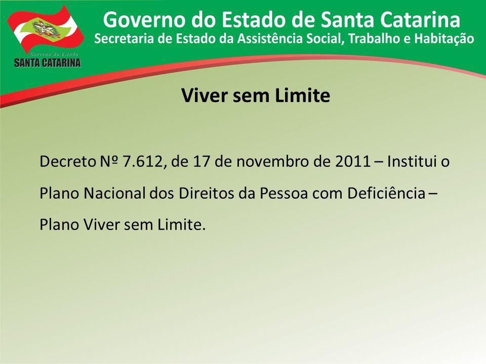 Viver sem Limite Decreto Nº 7.612, de 17 de novembro de 2011 – Institui o Plano Nacional dos Direitos da Pessoa com Deficiência – Plano Viver sem Limi