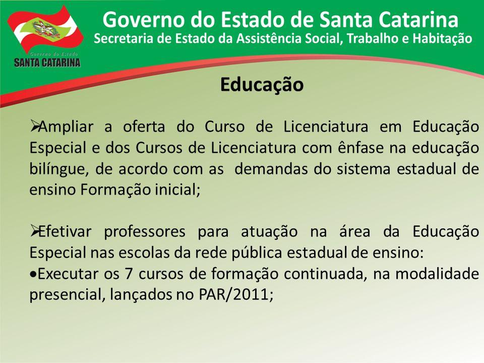 Educação Ampliar a oferta do Curso de Licenciatura em Educação Especial e dos Cursos de Licenciatura com ênfase na educação bilíngue, de acordo com as