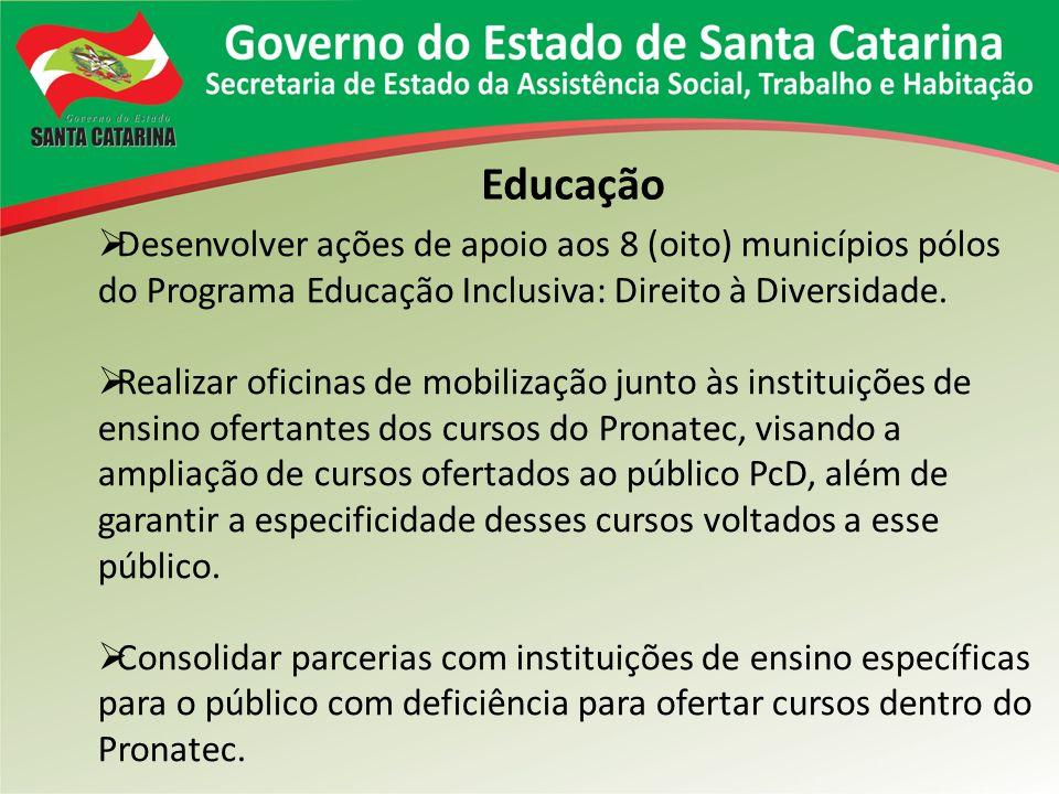 Educação Desenvolver ações de apoio aos 8 (oito) municípios pólos do Programa Educação Inclusiva: Direito à Diversidade. Realizar oficinas de mobiliza
