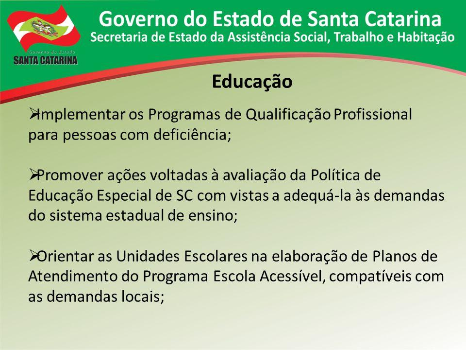 Educação Implementar os Programas de Qualificação Profissional para pessoas com deficiência; Promover ações voltadas à avaliação da Política de Educaç