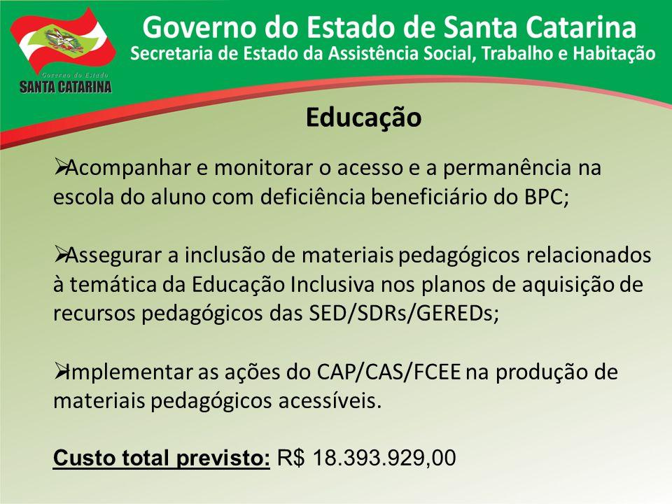 Educação Acompanhar e monitorar o acesso e a permanência na escola do aluno com deficiência beneficiário do BPC; Assegurar a inclusão de materiais ped